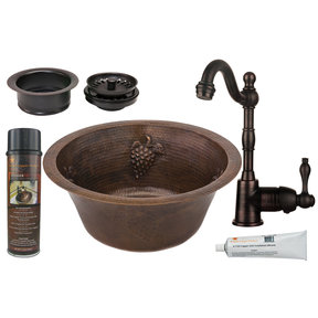 Premier Copper Products - BSP4_BR16GDB3-G Bar/Prep Sink, Faucet and Accessories Package