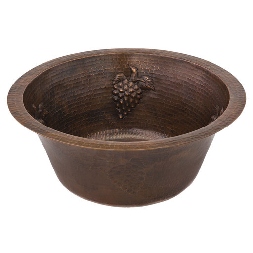 View a Larger Image of 16 inch Round Copper Grapes Prep Sink with 3.5 inch Drain Size, Faucet and Accessories Package, Oil Rubbed Bronze