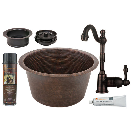 View a Larger Image of Large Round Hammered Copper Prep Sink, Faucet and Accessories Package, Oil Rubbed Bronze