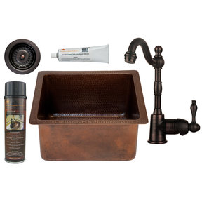 Premier Copper Products - BSP4_BREC16DB-D Bar/Prep Sink, Faucet and Accessories Package