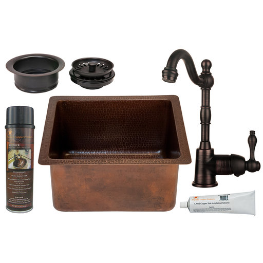View a Larger Image of Premier Copper Products - BSP4_BREC16DB-G Bar/Prep Sink, Faucet and Accessories Package