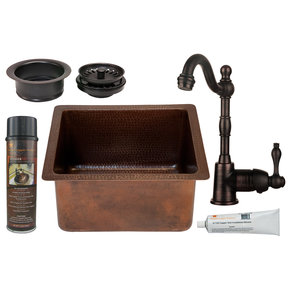 Premier Copper Products - BSP4_BREC16DB-G Bar/Prep Sink, Faucet and Accessories Package