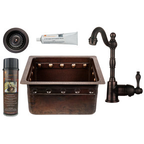 16 inch Gourmet Rectangular Hammered Copper Barrel Strap Bar/Prep Sink, Faucet and Accessories Package, Oil Rubbed Bronz