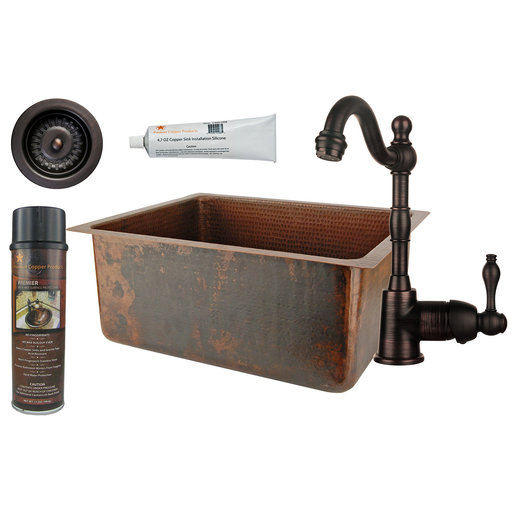 View a Larger Image of 20 inch Hammered Copper Kitchen/Bar/Prep Single Basin Sink, Faucet and Accessories Package, Oil Rubbed Bronze