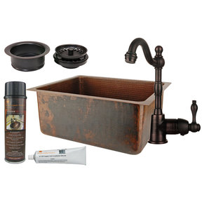 Premier Copper Products - BSP4_BREC20DB-G Bar/Prep Sink, Faucet and Accessories Package