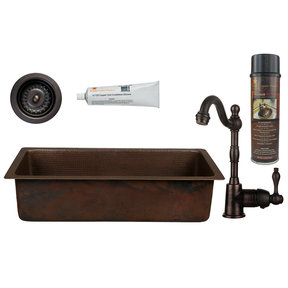 28 inch Rectangle Hammered Copper Bar/Prep Sink with 3.5 inch Drain Opening, Faucet and Accessories Package, Oil Rubbed