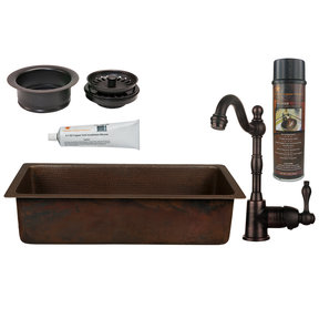 Premier Copper Products - BSP4_BREC28DB-G Bar/Prep Sink, Faucet and Accessories Package