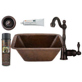 Rectangle Copper Bar Sink with 2 inch Drain Size, Faucet and Accessories Package, Oil Rubbed Bronze
