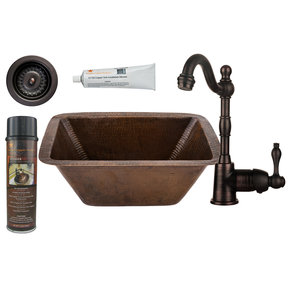 Premier Copper Products - BSP4_BRECDB3-D Bar/Prep Sink, Faucet and Accessories Package
