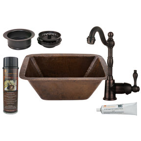 Premier Copper Products - BSP4_BRECDB3-G Bar/Prep Sink, Faucet and Accessories Package