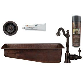 Premier Copper Products - BSP4_BRECSL28DB3-D Bar/Prep Sink, Faucet and Accessories Package