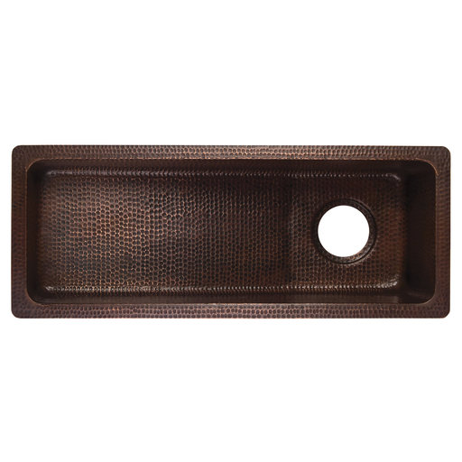 View a Larger Image of 28 inch Rectangle Hammered Copper Slanted Bar/Prep Sink with 3.5 inch Drain Opening, Faucet and Accessories Package, Oil