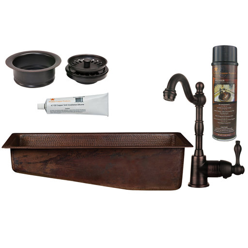View a Larger Image of Premier Copper Products - BSP4_BRECSL28DB3-G Bar/Prep Sink, Faucet and Accessories Package