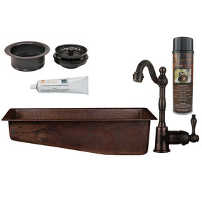 Premier Copper Products - BSP4_BRECSL28DB3-G Bar/Prep Sink, Faucet and Accessories Package