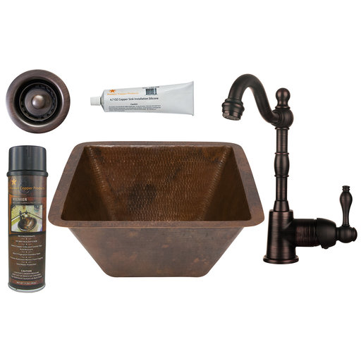 View a Larger Image of Premier Copper Products - BSP4_BS15DB2-B Bar/Prep Sink, Faucet and Accessories Package
