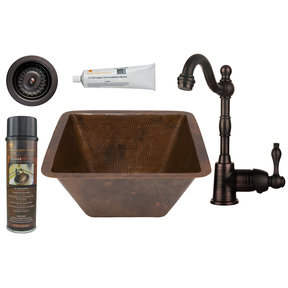 Premier Copper Products - BSP4_BS15DB3-D Bar/Prep Sink, Faucet and Accessories Package