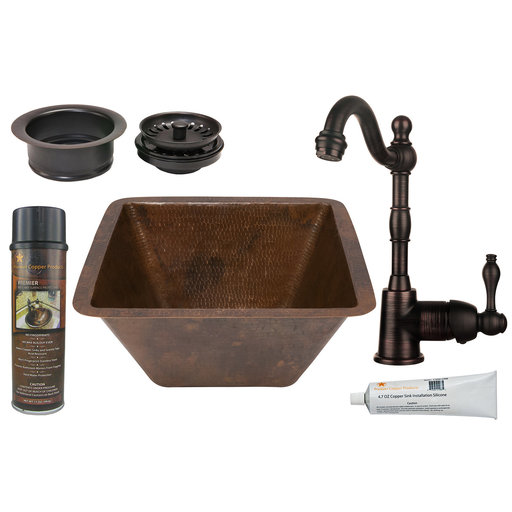 View a Larger Image of Premier Copper Products - BSP4_BS15DB3-G Bar/Prep Sink, Faucet and Accessories Package