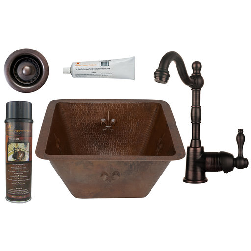 View a Larger Image of 15 inch Square Fleur De Lis Copper Bar/Prep Sink with 2 inch Drain Size, Faucet and Accessories Package, Oil Rubbed Bron