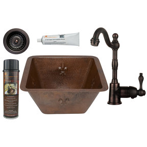 15 inch Square Fleur De Lis Copper Bar/Prep Sink with 3.5 inch Drain Size, Faucet and Accessories Package, Oil Rubbed Br