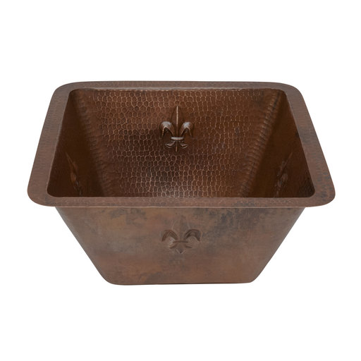 View a Larger Image of 15 inch Square Fleur De Lis Copper Bar/Prep Sink with 3.5 inch Drain Size, Faucet and Accessories Package, Oil Rubbed Br