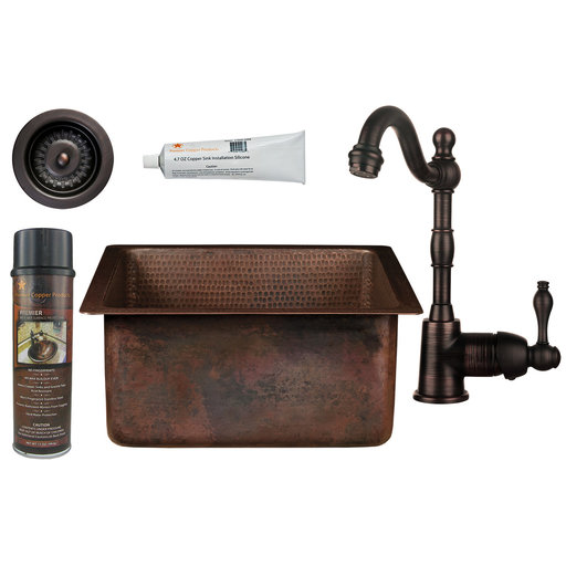 View a Larger Image of 15 inch Square Hammered Copper Bar/Prep Sink with 3.5 inch Drain Opening, Faucet and Accessories Package, Oil Rubbed Bro