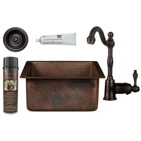 Premier Copper Products - BSP4_BS16DB3-D Bar/Prep Sink, Faucet and Accessories Package
