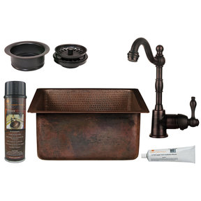 15 inch Square Hammered Copper Bar/Prep Sink with 3.5 inch Drain Opening, Faucet and Accessories Package, Oil Rubbed Bro