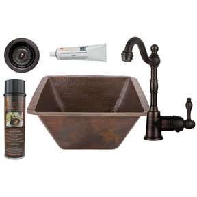 Premier Copper Products - BSP4_BS17DB-D Bar/Prep Sink, Faucet and Accessories Package