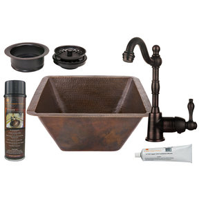 17 inch Square Hammered Copper Bar/Prep Sink, Faucet and Accessories Package, Oil Rubbed Bronze