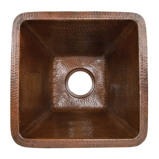 View a Larger Image of 17 inch Square Hammered Copper Bar/Prep Sink, Faucet and Accessories Package, Oil Rubbed Bronze