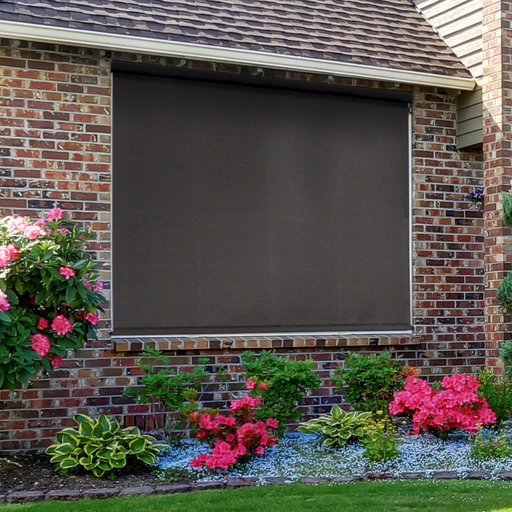 View a Larger Image of Premier Cordless Outdoor Sun Shade with Protective Valance, 10' W x 8' L, Mahogany