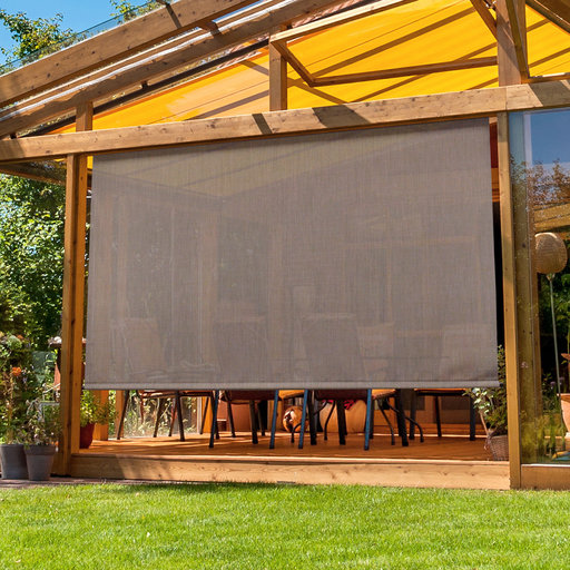View a Larger Image of Premier Cordless Outdoor Sun Shade with Protective Valance, 7' W x 8' L, Sandstone