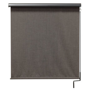 Premier Cordless Outdoor Sun Shade with Protective Valance, 8' W x 8' L, Pepper