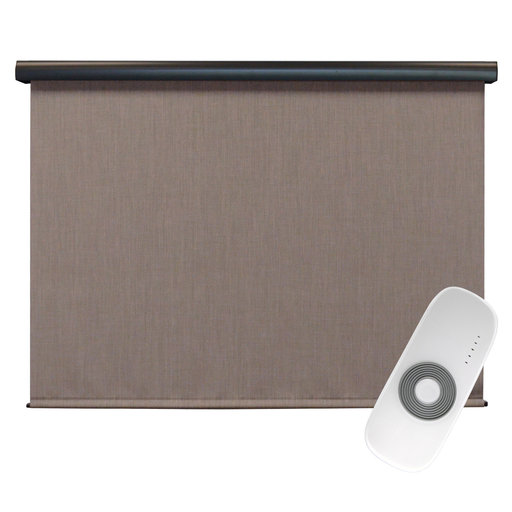 View a Larger Image of Premier Rechargeable Motorized Outdoor Sun Shade with Protective Valance, 4' W x 8' L, Sandstone