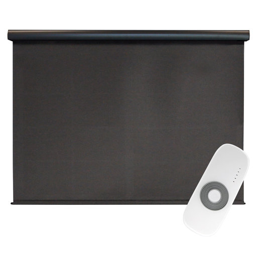 View a Larger Image of Premier Rechargeable Motorized Outdoor Sun Shade with Protective Valance, 6' W x 8' L, Mahogany