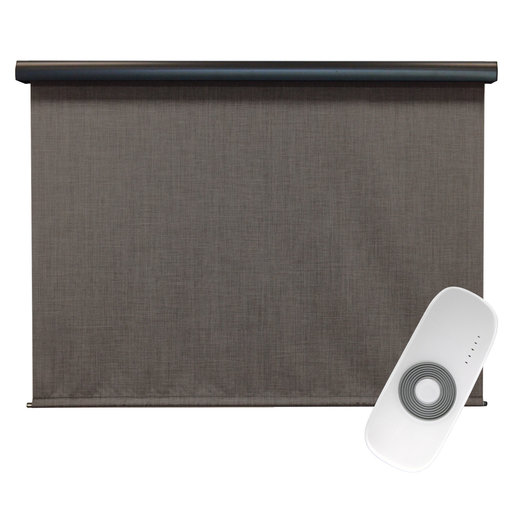 View a Larger Image of Premier Rechargeable Motorized Outdoor Sun Shade with Protective Valance, 6' W x 8' L, Pepper