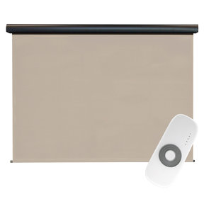 Premier Rechargeable Motorized Outdoor Sun Shade with Protective Valance, 7' W x 8' L, Maple