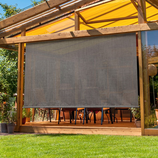 View a Larger Image of Premier Rechargeable Motorized Outdoor Sun Shade with Protective Valance, 7' W x 8' L, Pepper