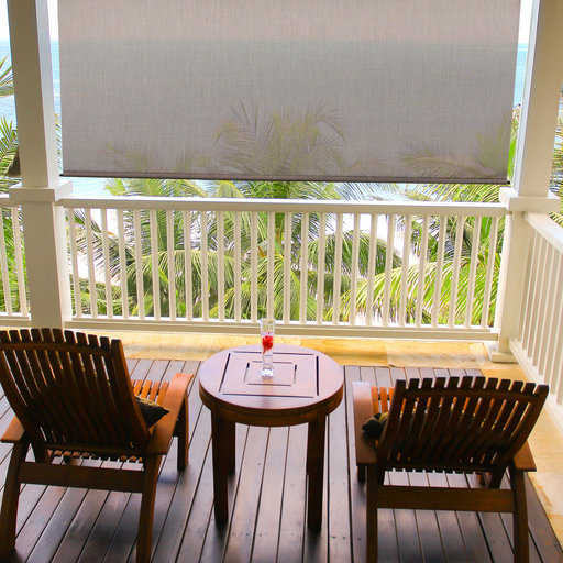 View a Larger Image of Premier Rechargeable Motorized Outdoor Sun Shade with Protective Valance, 7' W x 8' L, Sandstone