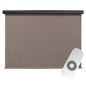 Premier Rechargeable Motorized Outdoor Sun Shade with Protective Valance, 8' W x 8' L, Sandstone
