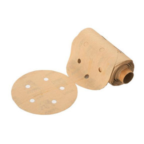 "Premium 5"" Sanding Discs with PSA, 5 hole pattern, 150 grit, Gold"