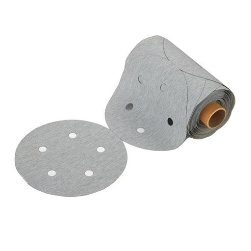 "View a Larger Image of Premium 5"" Sanding Discs with PSA, 5 hole pattern, 240 grit, Light Gray"