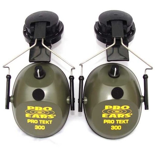 View a Larger Image of Pro TEKT 300 Electronic Hearing Protection with Hard Hat Adaptor , Green