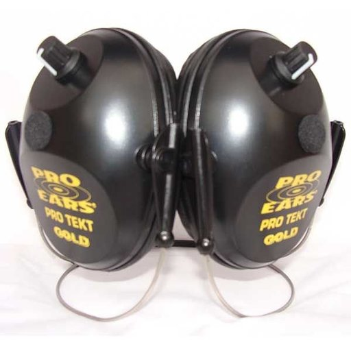 View a Larger Image of Pro Tekt Gold Electronic Hearing Protection with Behind The Head Headband, Black