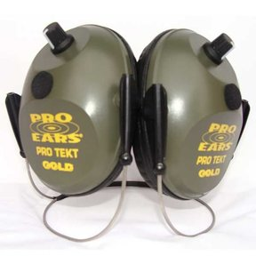 Pro Tekt Gold Electronic Hearing Protection with Behind The Head Headband, Green