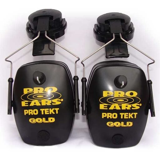 View a Larger Image of Pro TEKT Mag Gold Electronic Hearing Protection with Hard Hat Adaptor, Black