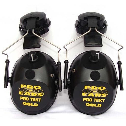 View a Larger Image of Pro TEKT Plus Gold Electronic Hearing Protection with Hard Hat Adaptor, Black
