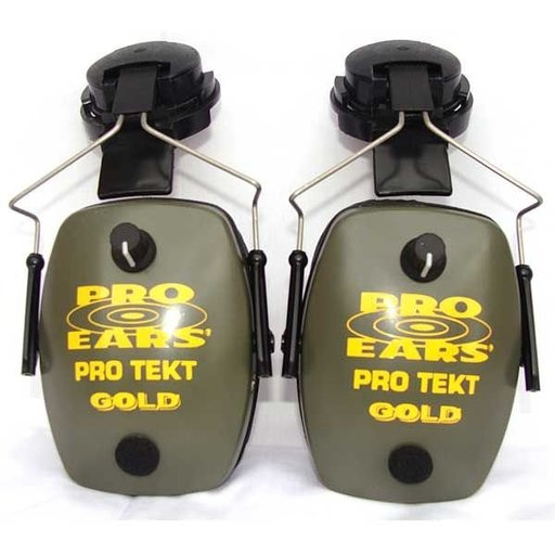 View a Larger Image of Pro TEKT Slim Gold Electronic Hearing Protection with Hard Hat Adaptor, Green