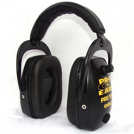 View a Larger Image of Pro TEKT Slim Gold Electronic Hearing Protection with Standard Headband , Black