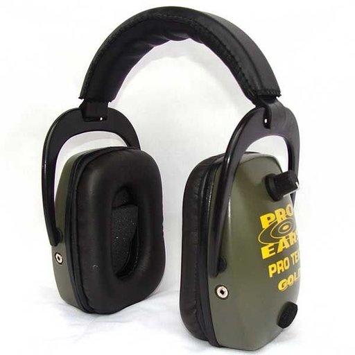 View a Larger Image of Pro TEKT Slim Gold Electronic Hearing Protection with Standard Headband , Green